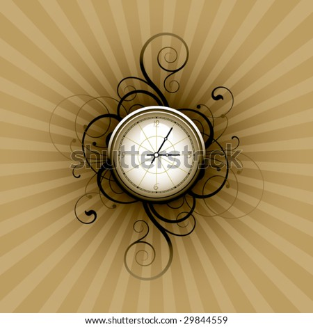Clock on a floral background - stock vector