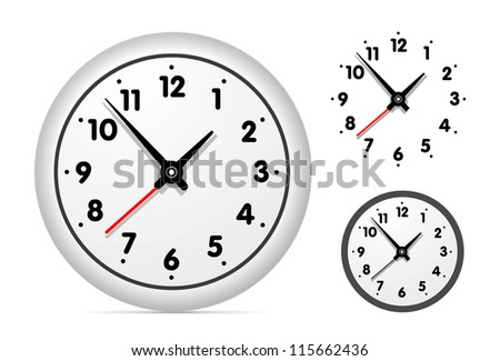 Clock on the white wall set. Vector illustration - stock vector