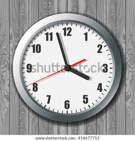 Clock. Picture hours. Watch for wall mounting. Image hours. Digital Watch. Dial hours. Clock hands. The clock shows the time. Hours minutes. - stock vector