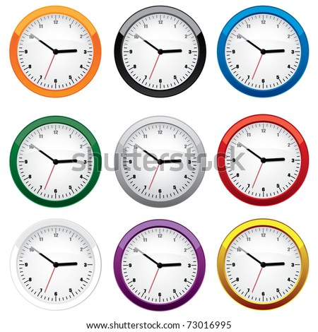 Clock set in different colors - stock vector