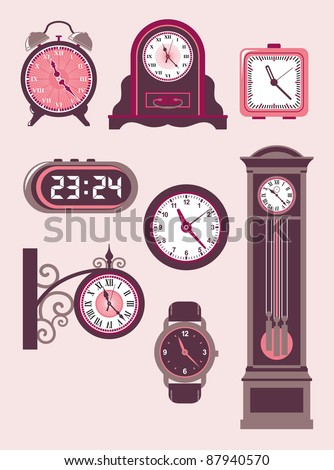 Clock Set. Set of design elements – modern and old-fashioned clocks - stock vector