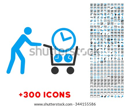 Clock Shopping vector pictogram with additional 300 date and time management icons. Style is bicolor flat symbols, blue and gray colors, rounded angles, white background. - stock vector