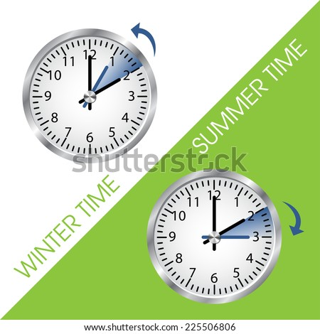 Clock showing summer and winter time. Vector illustration - stock vector