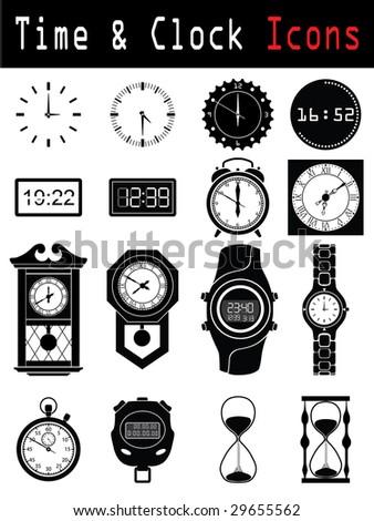Clock silhouette - stock vector