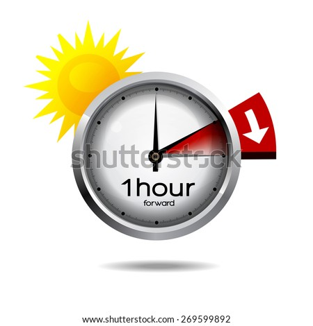 Clock switch to summer time daylight saving time  - stock vector