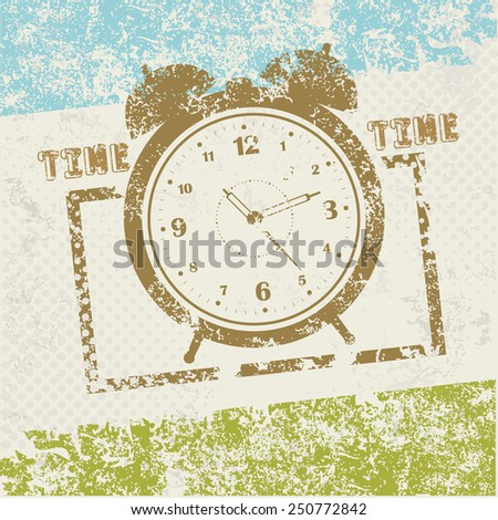 Clock symbol on old paper,grunge vector - stock vector