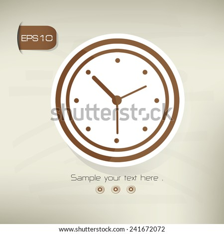 Clock symbol,sticker design,brown version,clean vector - stock vector