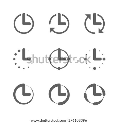 Clock, time icons. Vector. - stock vector