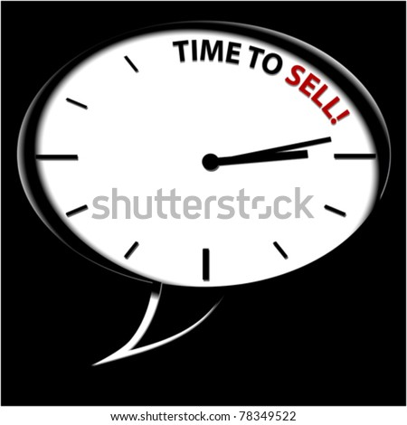 "Clock ""Time to sell"" - stock vector"