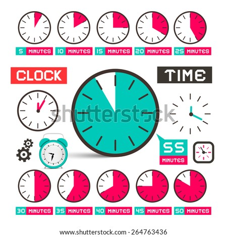 Clock - Time Vector Icons Set Isolated on White Background - stock vector