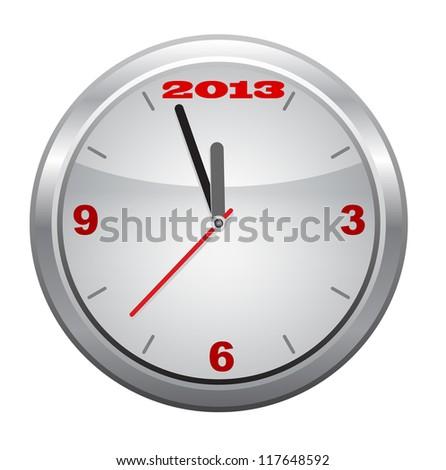 Clock to 2013,  New Year, vector. - stock vector