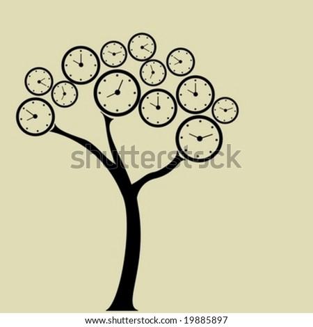 Clock tree. For clock flowers see my portfolio - stock vector