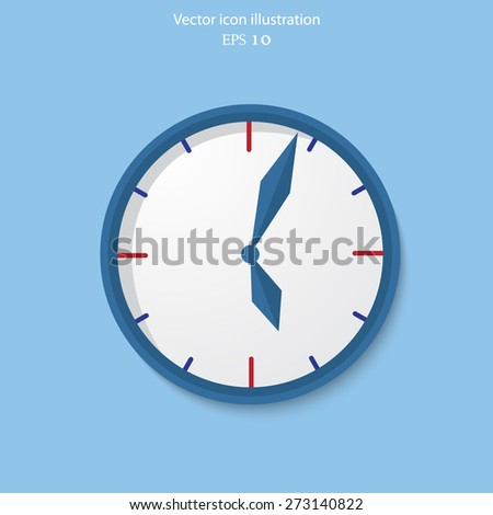 Clock vector flat icon. World time concept. Internet marketing. Daily infographic. - stock vector