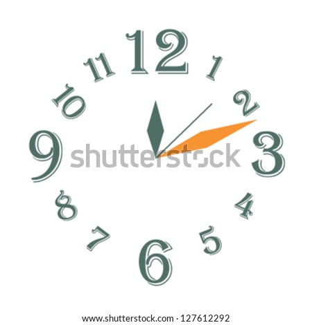clock vector,vector clock with green and orange arrows,vector clock design,design for clock,vector clock face,easy change time - stock vector