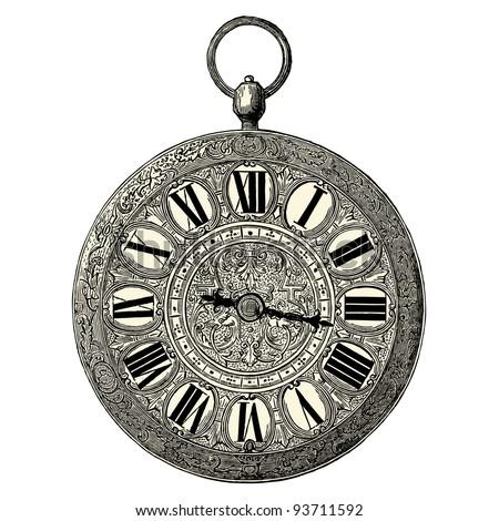 """Clock  - vintage engraved illustration - """"L'industrie et l'art décoratif aux deux derniers siècles"""" ed. Firmin-Didot - Paris - stock vector"""