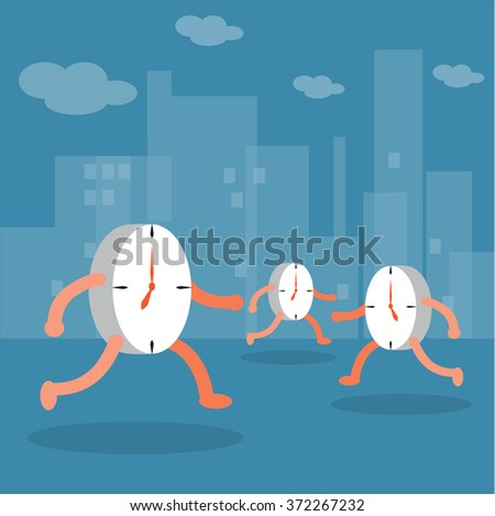 Clock walking in city. Time concept. - stock vector