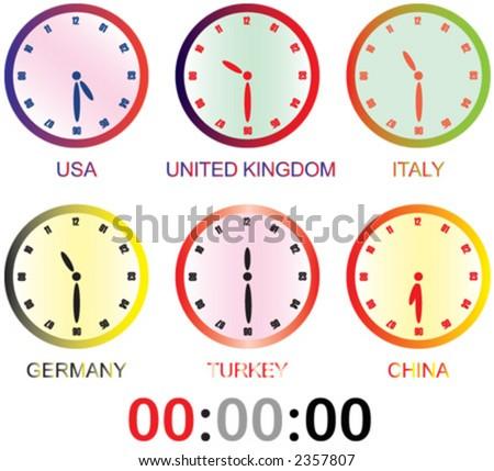 clock. wallclock, vektor, usa, united kingdom, italy, turkey, germany, china - stock vector