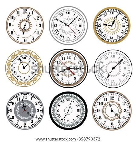 Clock watch alarms vector icons illustration. Clock face icons isolated on white background. Clocks, watch silhouette. Old, retro, modern and fashion clocks. Time tools icons, alarm, watch icons - stock vector