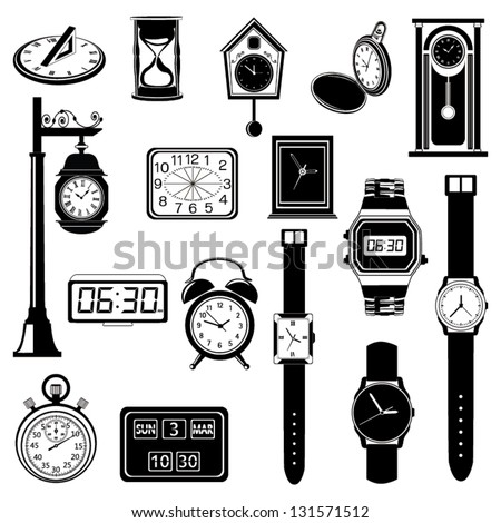 Clock/Watch evolution vector set - stock vector