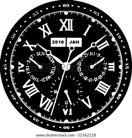 Clock Watch Vector 07 - stock vector