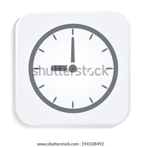 Clock white icon - stock vector