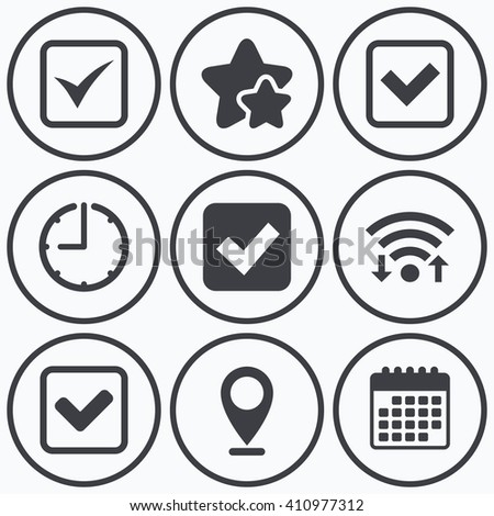 Clock, wifi and stars icons. Check icons. Checkbox confirm squares sign symbols. Calendar symbol. - stock vector