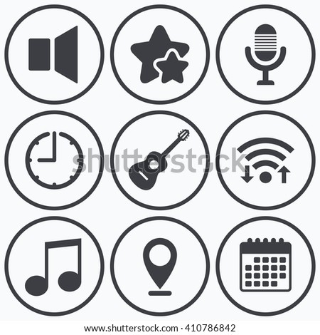 Clock, wifi and stars icons. Musical elements icons. Microphone and Sound speaker symbols. Music note and acoustic guitar signs. Calendar symbol. - stock vector