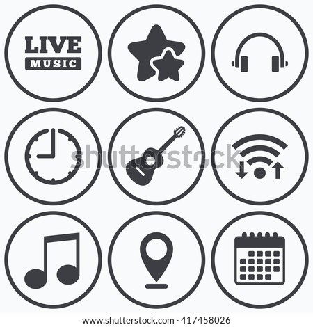 Clock, wifi and stars icons. Musical elements icons. Musical note key and Live music symbols. Headphones and acoustic guitar signs. Calendar symbol. - stock vector
