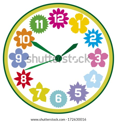 clock with flowers (floral clock) - stock vector