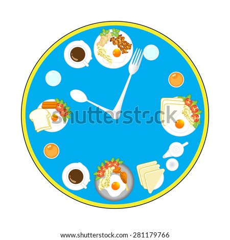 Clock with food and kitchen utensils, meal time, vector, illustration.
