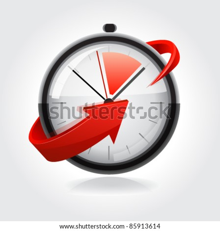 Clock with red arrow. Vector - stock vector
