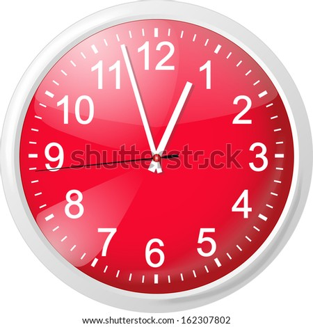 Clock with red dial. Vector Illustration - stock vector