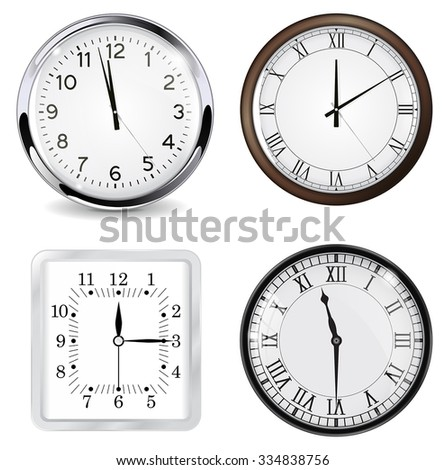 Clock with roman numbers. White square clock. Vector illustration isolated on white background - stock vector