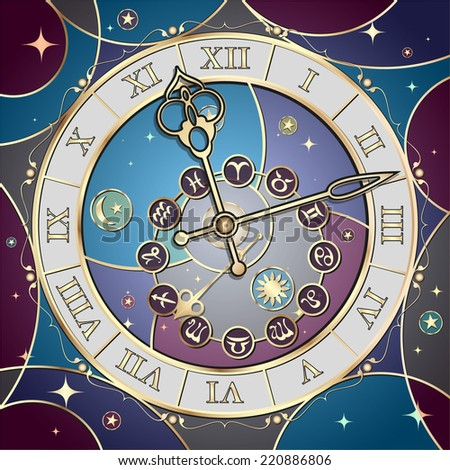 Clock with the astrological signs of the zodiac, the vector - stock vector