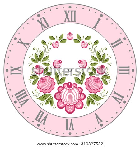 Clockface in the Russian style. Russian handicraft Gorodets painting. Vector illustration - stock vector