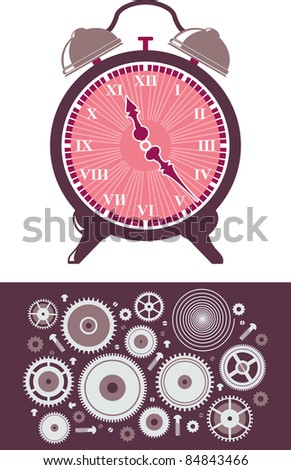 Clocks alarm and set of gears - stock vector
