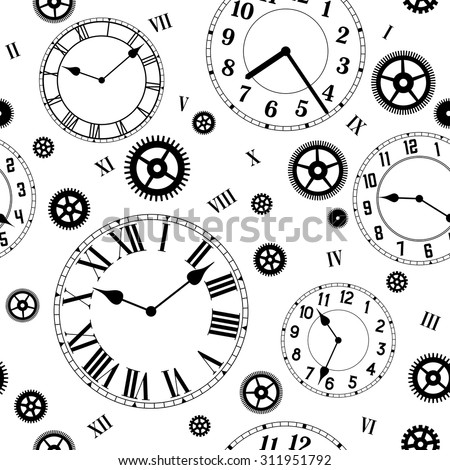 Clocks and gears vector seamless pattern. Black and white colors. - stock vector