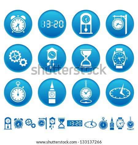 Clocks and watches icons - stock vector