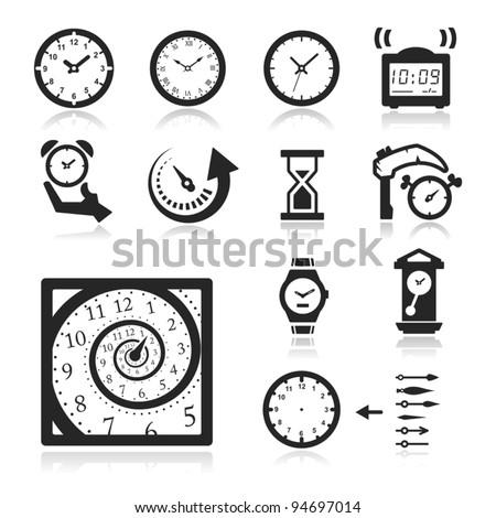Clocks Icons set elegant series - stock vector