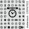 Clocks icons set on grey  - stock vector
