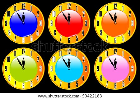 clocks on a black background vector eps10 - stock vector