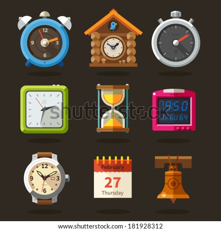 Clocks, time flat icons vector set. - stock vector