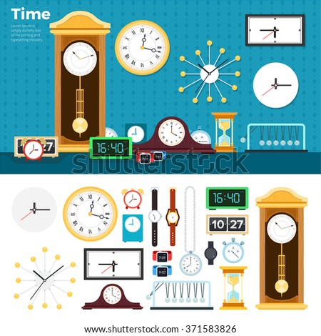 Clocks vector flat illustrations. Many different clocks and watches in the room. Time is passing concept. Mechanical and electric watches and clocks isolated on white background - stock vector