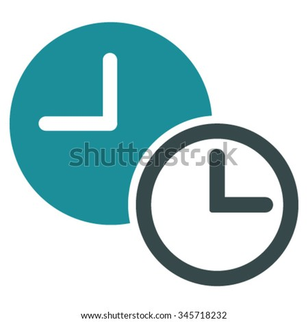 Clocks vector icon. Style is bicolor flat symbol, soft blue colors, rounded angles, white background.