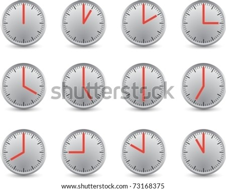 clocks with different time eps10 - stock vector