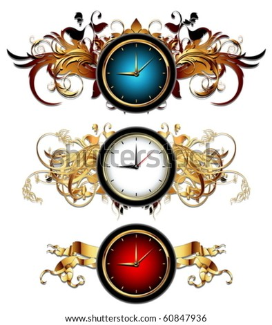 clocks with floral elements - stock vector