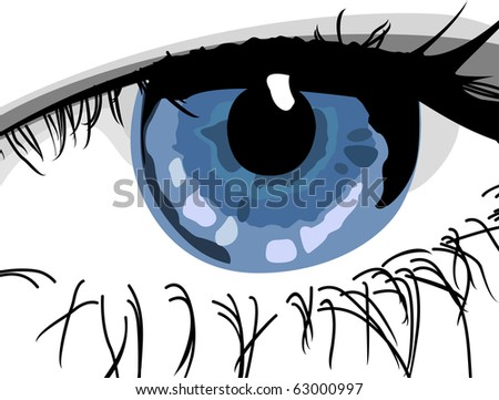 close-up blue woman's eye - stock vector
