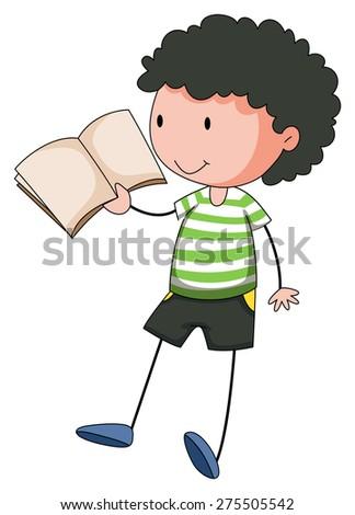Close up boy reading a book - stock vector