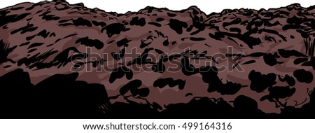 Close up illustration of clump of soil or rocky mining slag heap