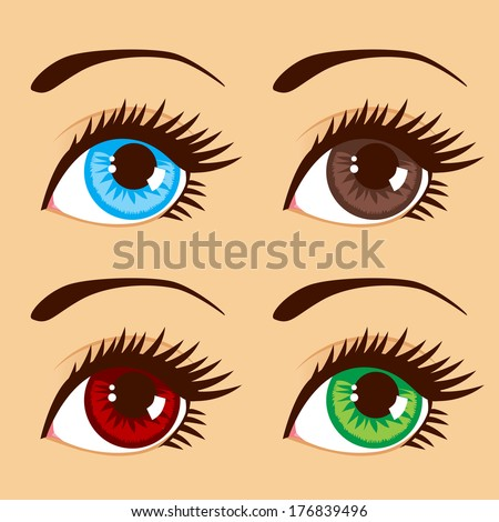Close up illustration of four eyes with different eye colors - stock vector